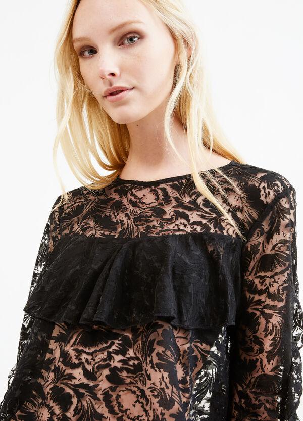 Viscose lace blouse with flounces   OVS