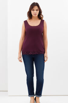 Curvy cotton vest with lace, Claret Red, hi-res