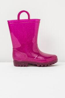 Stivaletti anti pioggia glitterati, Rosa fuxia, hi-res