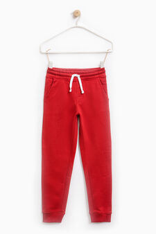 Joggers with ribbed ankles, Red, hi-res
