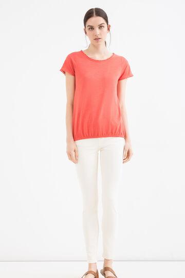 Pantaloni cotone stretch tinta unita, Bianco, hi-res