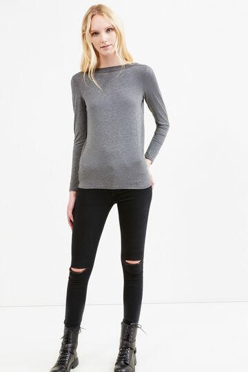 T-shirt viscosa stretch tinta unita, Grigio scuro melange, hi-res