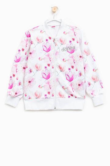 Sudadera con estampado floral Dimensione Danza, Blanco/Rosa, hi-res