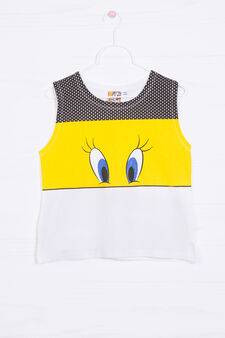 100% cotton top with Tweetie Pie print, White, hi-res
