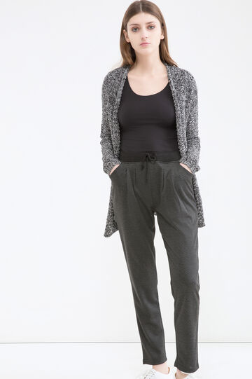 Patterned viscose blend trousers