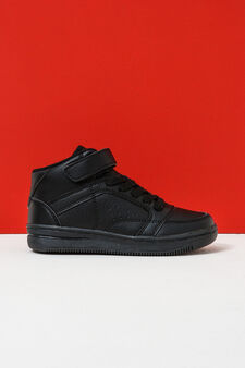 Solid colour high-top sneakers with Velcro fastening, Black, hi-res