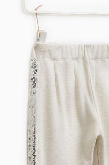 Pantaloni tuta cotone con paillettes, Grigio melange, hi-res
