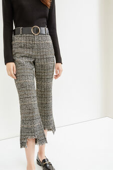 Frayed check crop trousers, Black, hi-res