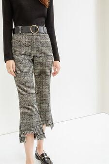 Pantaloni crop sfrangiati a quadri, Nero, hi-res