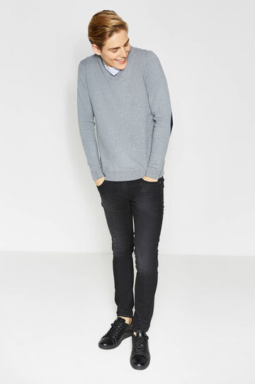 100% cotton pullover with patches, Grey Marl, hi-res