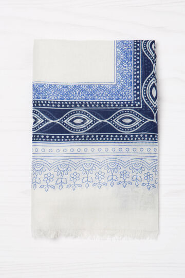 Scarf with contrasting colour print., White/Blue, hi-res