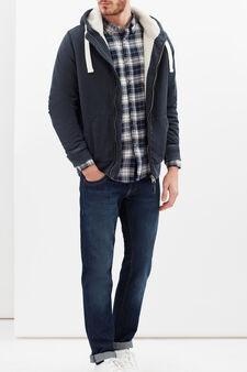 Camicia regular cotone a quadri, Bianco/Blu, hi-res