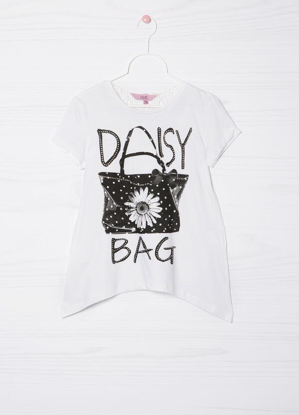 Diamanté T-shirt in 100% cotton | OVS