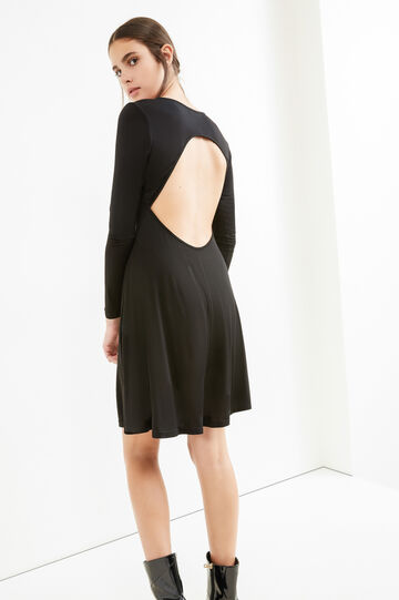 Solid colour V-neck dress, Black, hi-res