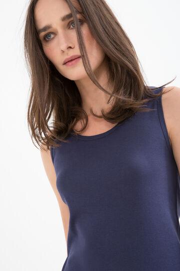 100% cotton top with lace, Blue, hi-res