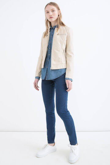Leather look jacket with zip, Baby Pink, hi-res