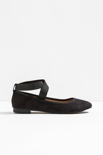 Suede-look ballerina flats, Black, hi-res