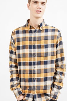 Casual check shirt with rounded hem, Multicolour, hi-res