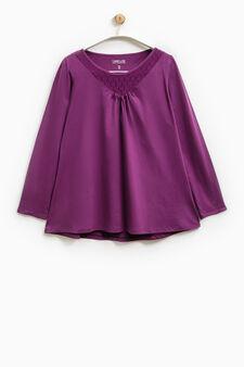Smart Basic T-shirt with lace neck, Purple, hi-res