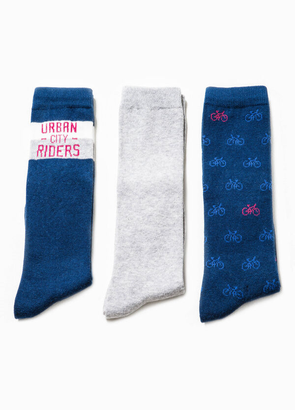 Three-pair pack solid colour and bicycle patterned socks | OVS