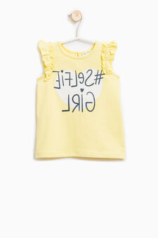 Stretch top with contrasting print, Yellow, hi-res