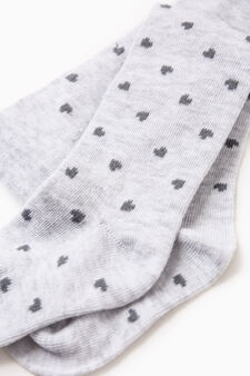 Heart pattern tights in cotton blend, Grey, hi-res