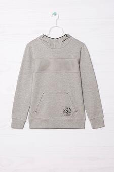 100% cotton hoodie, Grey Marl, hi-res