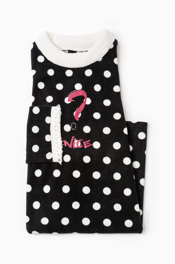 Polka dot fleece nightshirt, Black/White, hi-res