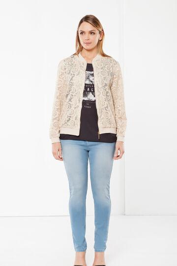 Curvyglam openwork jacket, Light Beige, hi-res