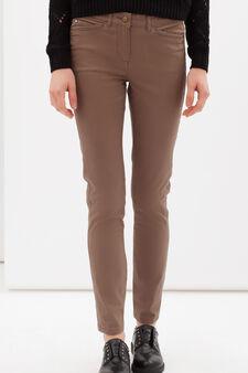 Regular fit stretch cotton trousers, Beige, hi-res