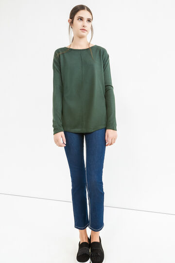 Pullover with boat neck, Green, hi-res