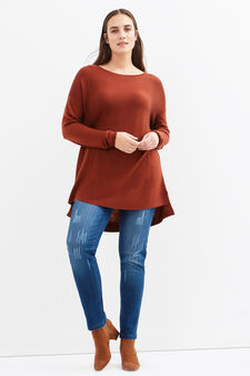 Curvy plain wool blend pullover, Dark Red, hi-res