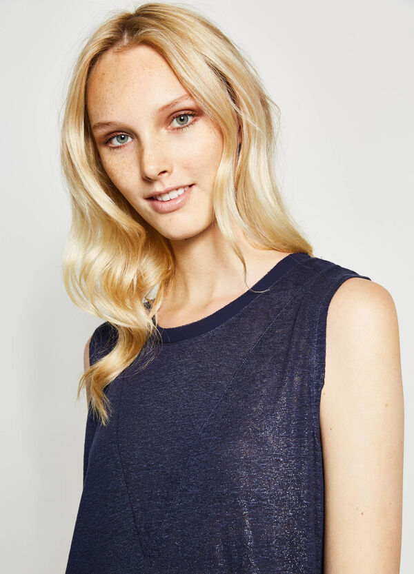 Solid colour 100% linen top | OVS