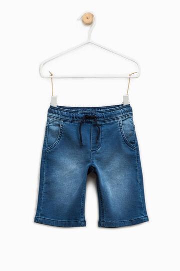 Washed-effect stretch denim Bermuda shorts, Medium Wash, hi-res