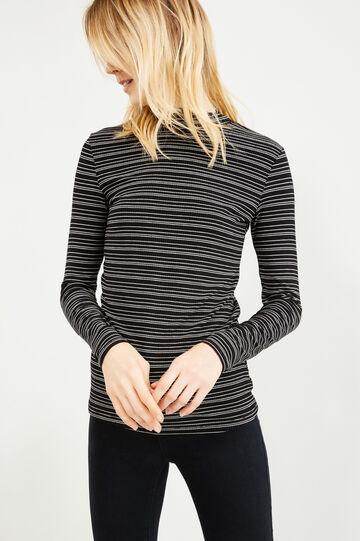 T-shirt viscosa stretch collo alto a righe, Nero/Bianco, hi-res