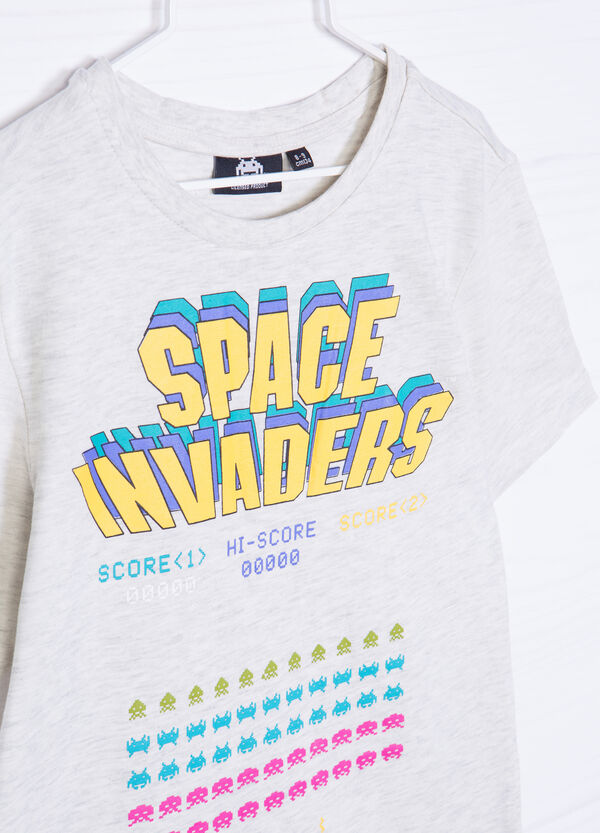 Space Invaders crew-neck cotton T-shirt | OVS