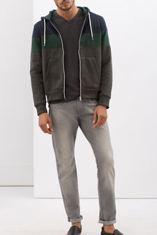 Hoodie with contrasting inserts, Grey/Green, hi-res
