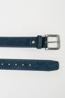 Real leather belt with square buckle, Navy Blue, hi-res