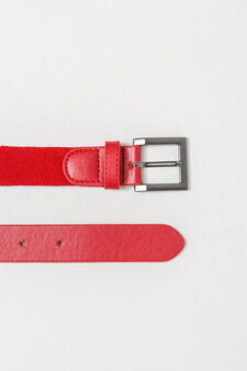 Solid colour stretch belt, Red, hi-res