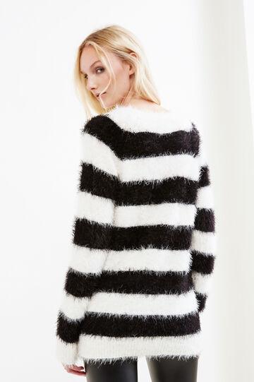 Striped shaggy pullover, Black/White, hi-res