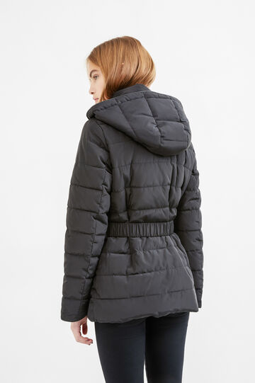 Down jacket with removable hood, Black, hi-res