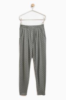 Pantaloni stretch stampa all-over, Blu, hi-res
