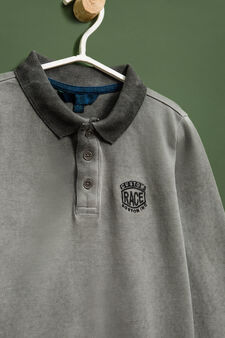 100% cotton embroidered polo shirt, Grey, hi-res