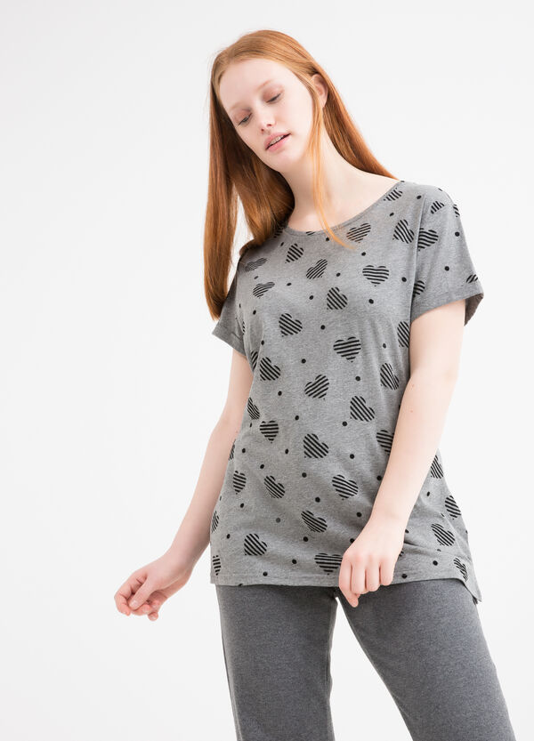 Curvy 100% cotton patterned T-shirt | OVS