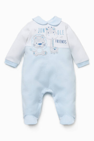 Cotton onesie with contrasting inserts, White/Light Blue, hi-res