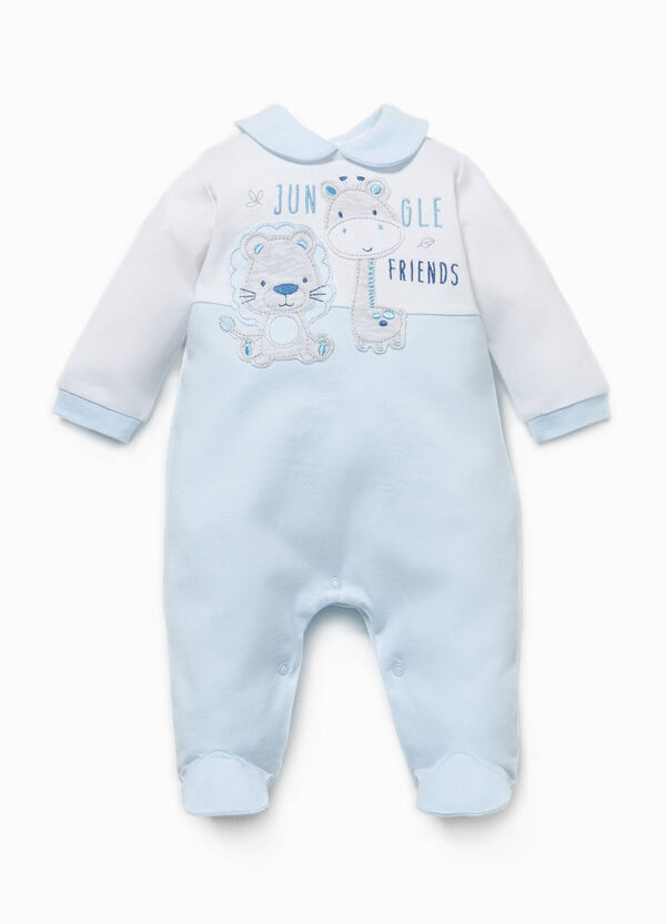 Cotton onesie with contrasting inserts | OVS