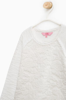 100% cotton sweatshirt with lace, Milky White, hi-res