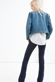 Leather look jacket with button fastening, Blue, hi-res