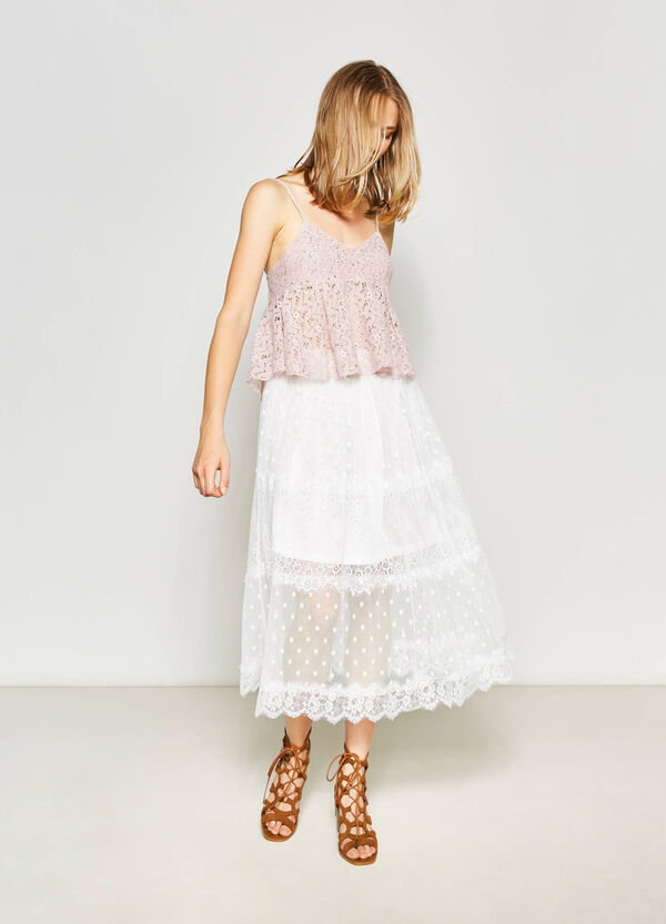 Long skirt with lace and tulle | OVS