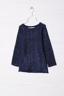 Pullover misto cotone con paillettes, Blu royal, hi-res